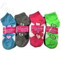 Women Heart Print Low Cut Socks DZ (12 Pairs)  L802-1004 - Assorted Color