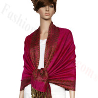 Border Patterned Pashmina Hot Pink