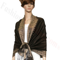 Border Patterned Pashmina Coffee