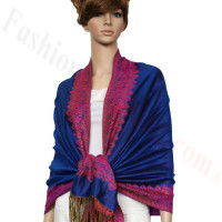 Border Patterned Pashmina Blue