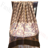 Paisley Hounds Tooth Scarf  Brown