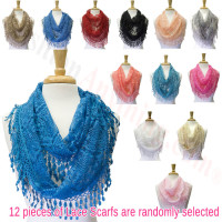Infinity Lace Scarf 1 DZ, Asst. Color