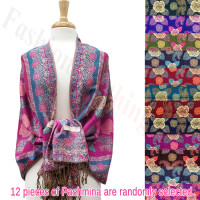 Metallic Rose Flower Pashmina 1 DZ, Asst. Color