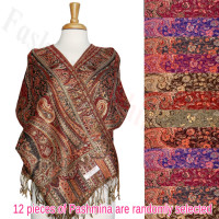Paisley Floral Border Metallic Pashmina 1 DZ, Asst. Color