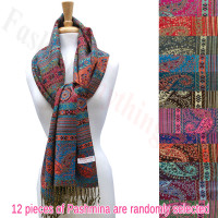 Metallic Paisley Geometric Pashmina 1 DZ, Asst. Color