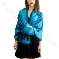 Rose & Leaf Pashmina Turquoise