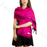 Rose & Leaf Pashmina Fuschia