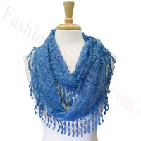 Infinity Lace Scarf Blue