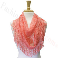 Infinity Lace Scarf Coral Pink