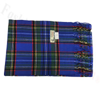 Woven Cashmere Feel Plaid Scarf Z17 Royal Blue / Green