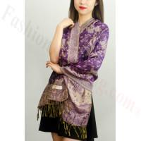 Jacquard Paisley Pashmina 2-Ply Purple