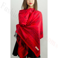 Simple Pasiley Pashmina Red