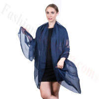 Light Solid Chiffon Shawl Navy