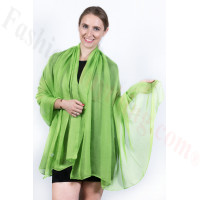 Light Solid Chiffon Shawl Lime Green