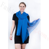 Light Solid Chiffon Shawl Royal Blue