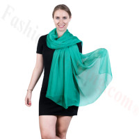 Light Solid Chiffon Shawl Jungle Green