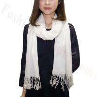 Ombre Solid Print Scarf Ivory