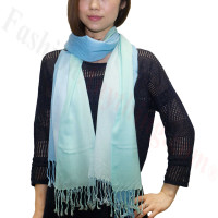 Ombre Solid Print Scarf Tiffany/Blue