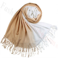 Ombre Solid Print Scarf Camel/White
