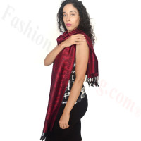 Floral Paisley Border Pashmina Dark Red