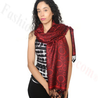 Circle Design Pashmina Red