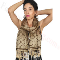 Circle Design Pashmina Brown/Beige