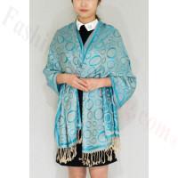 Circle Design Pashmina Turquoise/Beige