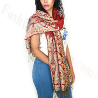 Giant Paisley Flower Pashmina Red/Steel Blue