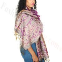 Giant Paisley Flower Pashmina Signal Violet