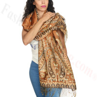 Giant Paisley Flower Pashmina Gold