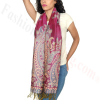 Giant Paisley Flower Pashmina Hot Pink