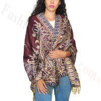 Giant Paisley Flower Pashmina Wine