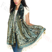 Giant Paisley Flower Pashmina Dark Green