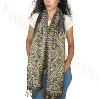 Giant Paisley Flower Pashmina Dark Grey
