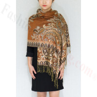 Gorgeous Paisley Pashmina  Rust Gold