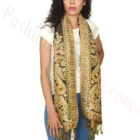 Giant Paisley Flower Pashmina Black/Gold