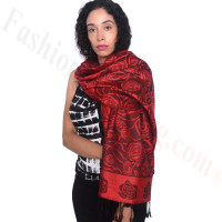 Rose Border Pashmina Red