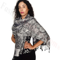 Rose Border Pashmina Black/Silver