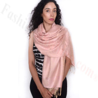 Rose Border Pashmina LightPink/Beige