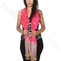 Dots Paisley Pashmina Hot Pink