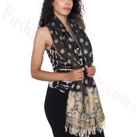 Dots Paisley Pashmina Black/ Gold