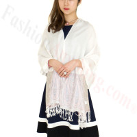 Paisley Leaves Pashmina White