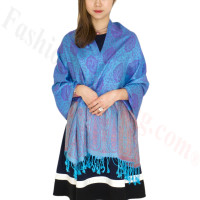Paisley Leaves Pashmina Blue / Purple