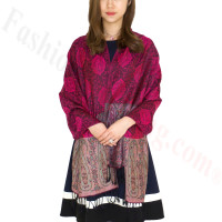 Paisley Leaves Pashmina Hot Pink / Black