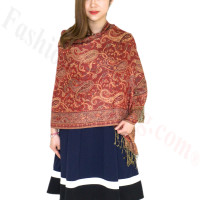 Classic Paisley Pashmina Scarf Red