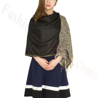 Luxury 2ply Pasiley Pashmina Black