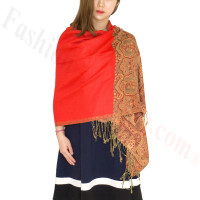 Luxury 2ply Pasiley Pashmina Red