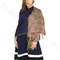 Luxury 2ply Pasiley Pashmina Navy