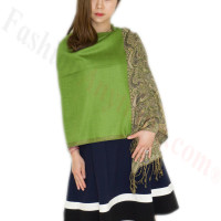 Luxury 2ply Pasiley Pashmina Green