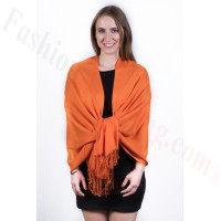 Silky Soft Solid Pashmina Scarf Orange Dozen (12 Pcs)